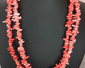 Native American  2 Strands  Bamboo Coral Sterling Silver Necklace