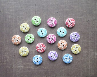 40 wood white summer Nature flower exotic multi buttons
