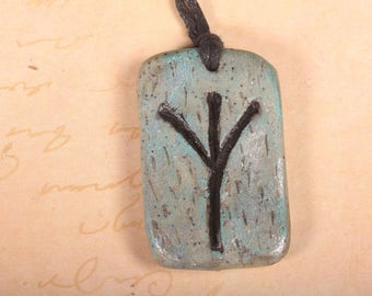 Viking rune of protection and opportunity polymer clay necklace