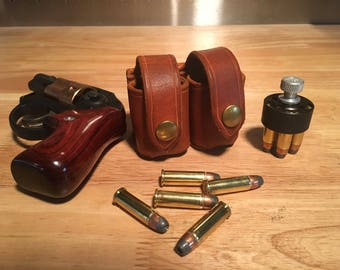 Handmade leather double speedloader pouch for 5 round .38 special / .357 magnum