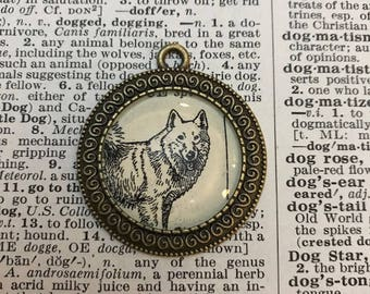 Handmade Vintage Dictionary Dog Necklace - Spitz Dog (Husky, Shiba Inu, Malamute)