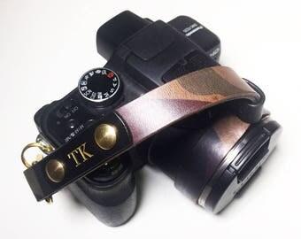 Leather Camouflage Camera Wrist Strap Italian Leather Personalized Custom Engraving Name Monogram Avaloncraft