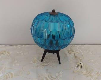 Boule Vintage. 70's lampe bleue plastique. France