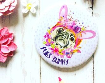Pug Print Pocket Mirror, Cute Funny Pug Gift