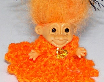 "1.5"" Russ Troll Doll, Pumpkih Knit Dress, Tangerine Icelandic Hair, Headband"