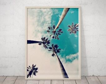 SALE Palm Tree Art Print, California Wall Art, Tropical Landscape, Palm Tree Wall Decor, Turquoise Printable Art, Large Poster, Hawaii Print