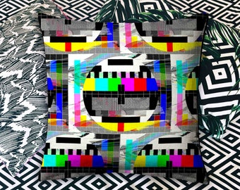 "Pillow Scatter Cushion Old TV Test Card Glitch Print Retro 80s 90s Home Decor Soft Furnishings 16""x16"""