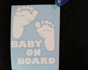 Baby On Board Footprint Safety Decal Any Size Any Colors