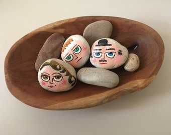Pebble family, painted stones, rock art, gift, hand painted pebbles