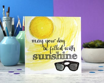 Special offer** Sunshine birthday card, thank you card, get well soon card, greeting card, blank card