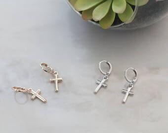 Gold Cross Earrings, Silver Cross Hoop Earrings, Baptism Cross Shape Hoops, Minimalistic Cross Charm Earrings Gold Drop Cross Charm Earrings