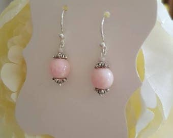 Lovely delicate pretty pastel pink pearlescent earrings