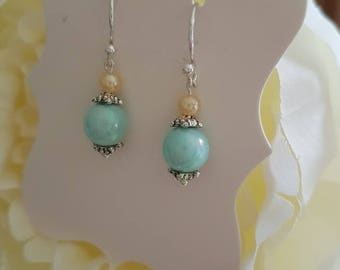 Handmade pretty soft turquoise Green/blue pearlescent earrings