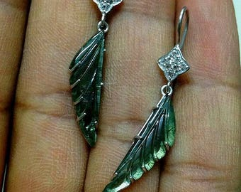 green tourmaline hand carved leaf earrings