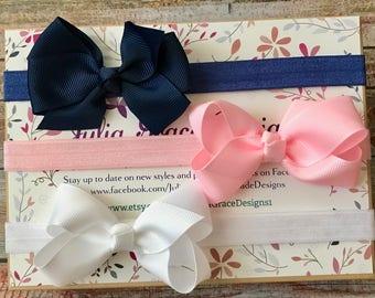 Baby Headbands/Bow Headbands/Baby Girl Headbands/Hair Bow Headbands/Toddler Headband/Grosgrain Bow/Bow Headband Set/Baby Headband Set/Baby