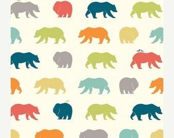 Sale Bear Hike in Multi from Birch Organic Fabrics, Just for Fun Poplin Collection