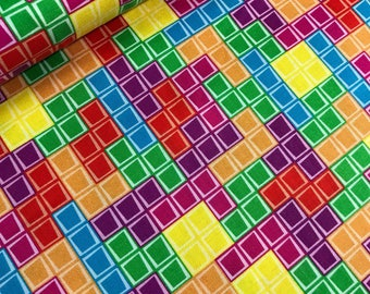 Multi Tetris Fill from the Tetris Collection by Riley Blake, Cotton Fabric, Games, Video Game Fabric