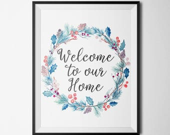 Welcome to Our Home Digital Prints Quote Print Printable Wall Art Printable quote Inspirational Quote Printable Watercolor Poster