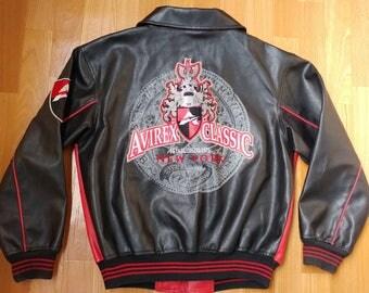 AVIREX faux leather jacket, vintage black coat, 90s old school hip-hop clothing, 1990s gangsta rap, college jacket, men's size S Small