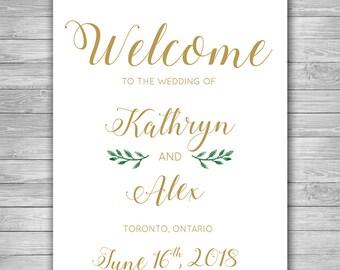 Wedding Welcome Sign, Printable 11x14, Greenery Wedding Sign