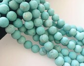 2.0mm Large Hole Matte Light Blue Turquoise Gemstone Round Loose Beads Size 8mm/10mm Approximate 15.5 Inches per Strand. R-S-L-TUR-0371