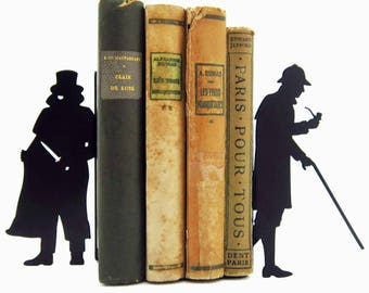 Pair of bookends in metal black Holmes and Moriarty