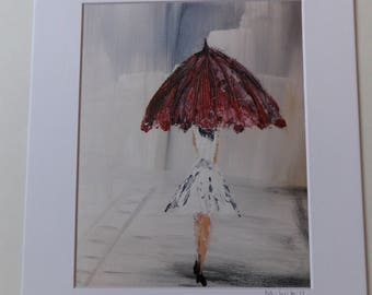 Red Umbrella Print, Lady with Umbrella, Umbrella Art Print, Lady in the Rain, Paris Print, Anniversary Gift, Gift for her, Bedroom Art