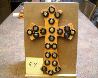 Wooden Cross with Vintage Buttons, Item #54