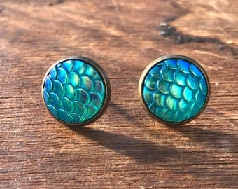 12 mm Aqua Resin Mermaid Scale Earrings On Brass