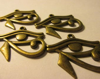 "Bronze Metal Egyptian ""Eye of Horus"" 1 1/8"", Set of 4"