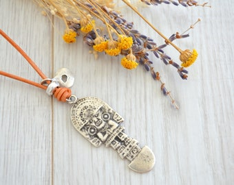 Brown Leather Inca Totem God Pendant necklace, boho men unisex necklace, gypsy leather man necklace, Inca Peruvian leather necklace jewelry