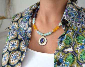 Amazonite - Lapis Lazuli beaded Kuchi Coin Necklace, Vintage OOAK beaded Necklace, Ethnic Moroccan Amazonite Lapis Lazuli beaded necklace