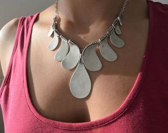 Bohemian Antique Silver Y Shape Teardrop Necklace, Teardrop Fringe Necklace, Silver Chunky Bib necklace, Mother's Day gift