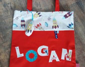 Tote bag personalized rocket themed boy