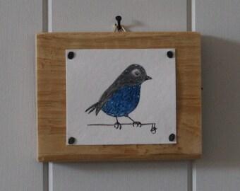 Original Gouache Painting - Little Grey Bird