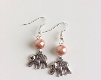 Elephants and orange beads earrings