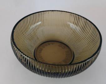 Vintage E.O. Brody Company Smoked Glass Ribbed Bowl