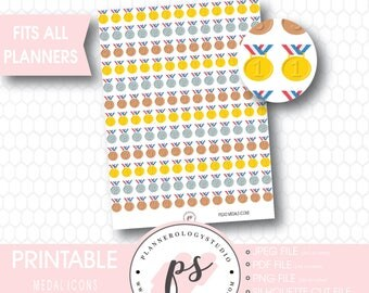 Medals (Gold, Silver Bronze) Icons Printable Planner Stickers | JPG/PDF/Silhouette Compatible Cut File