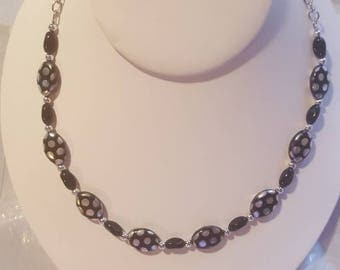 Striking black and silver Czech glass beads necklace beaded necklace black necklace silver necklace unique gift gift for her