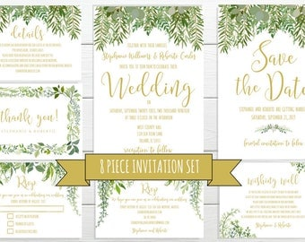 Greenery Wedding Invitation In An 8 PIECE Invitation Suite #IDWS604_20C