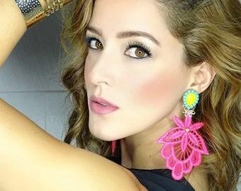Big Dangle Earrings, Pink Chandelier Earrings, Long Lace Earrings, Handmade Earrings, Jewelry designs, Statement Earrings, Custom Jewelry