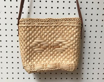 Woven Basket Wicker Crossbody Bag - Summer Beach Bag - Crossbody Woven Summer Beach Purse