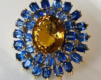 134.00cts Princess Ring of Kyanite and Citrine - Size 9 Sterling Silver and Gold