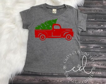 Christmas Shirt - Boys Christmas Shirt - Christmas Truck Shirt - Christmas Tree Truck Shirt - Christmas Tee Shirt - Truck Shirt