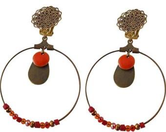 Luxor clip earring orange