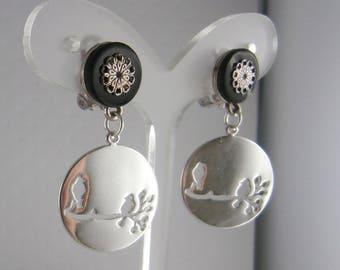 Clip earrings black silver birds