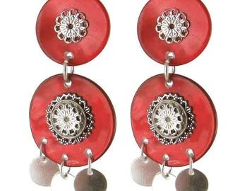 Earring clip red Milan (made in France)