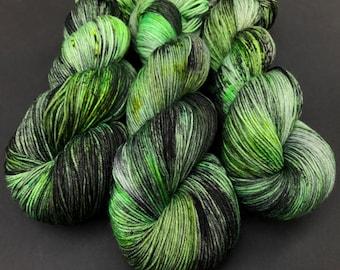 Toxic- Hand dyed yarn, sock weight, Superwash Merino, 463 yards, speckled yarn