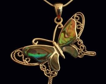 Butterfly Silver Pendant Shell