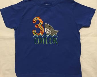 Custom appliqued shark birthday shirt